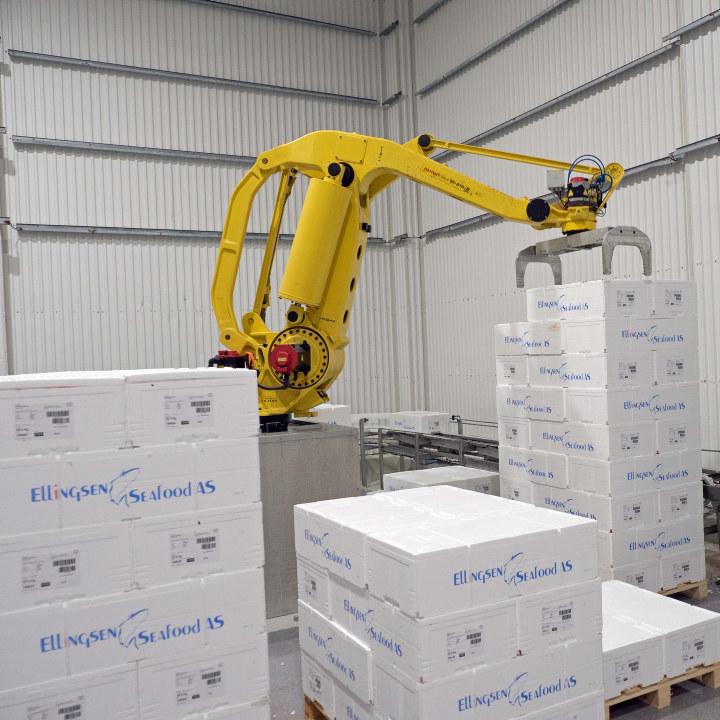 Robot som flytter paller