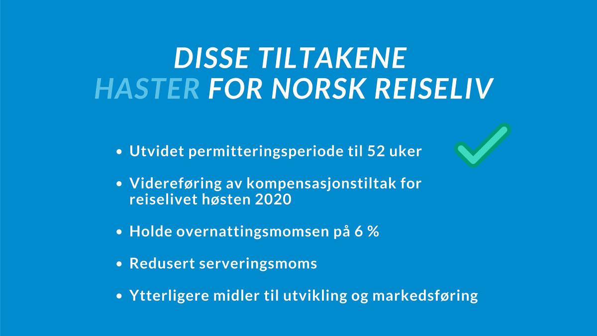 Grafikk som viser fem tiltak som haster for norsk reiselivsnæring