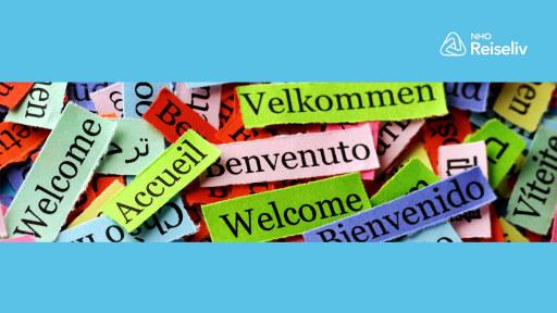 Illustrasjonsbilde med ordet veldkommen på en rekke ulike språk