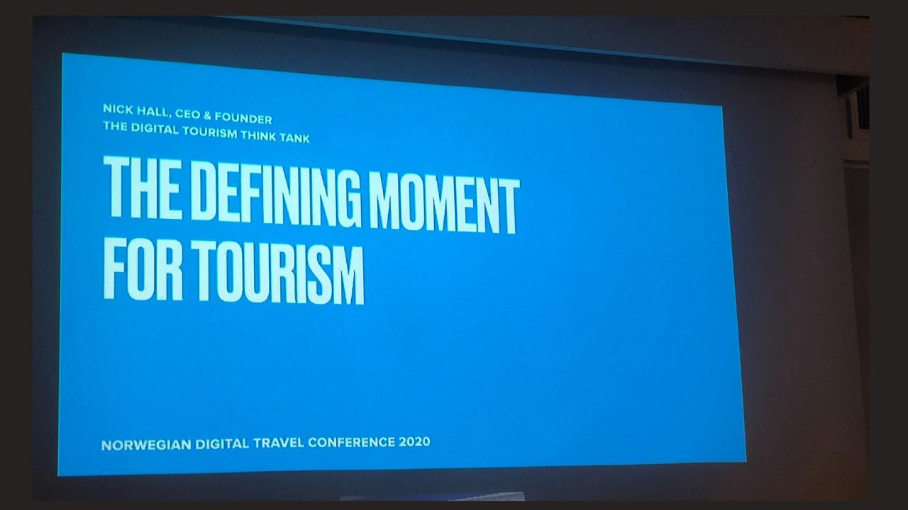 Nick Hall presenterer på Norwegian Digital Travel Conference 2020.