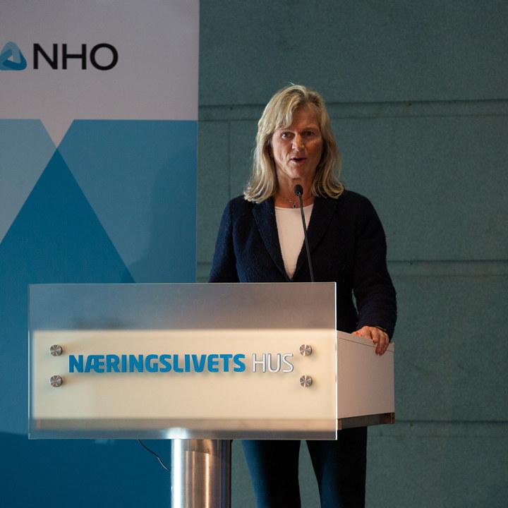 Administrerende direktør i NHO Reiseliv Kristin Krohn Devold snakker til medlemmer på et digitalt medlemsmøte med helsemyndighetene 30. oktober 2020