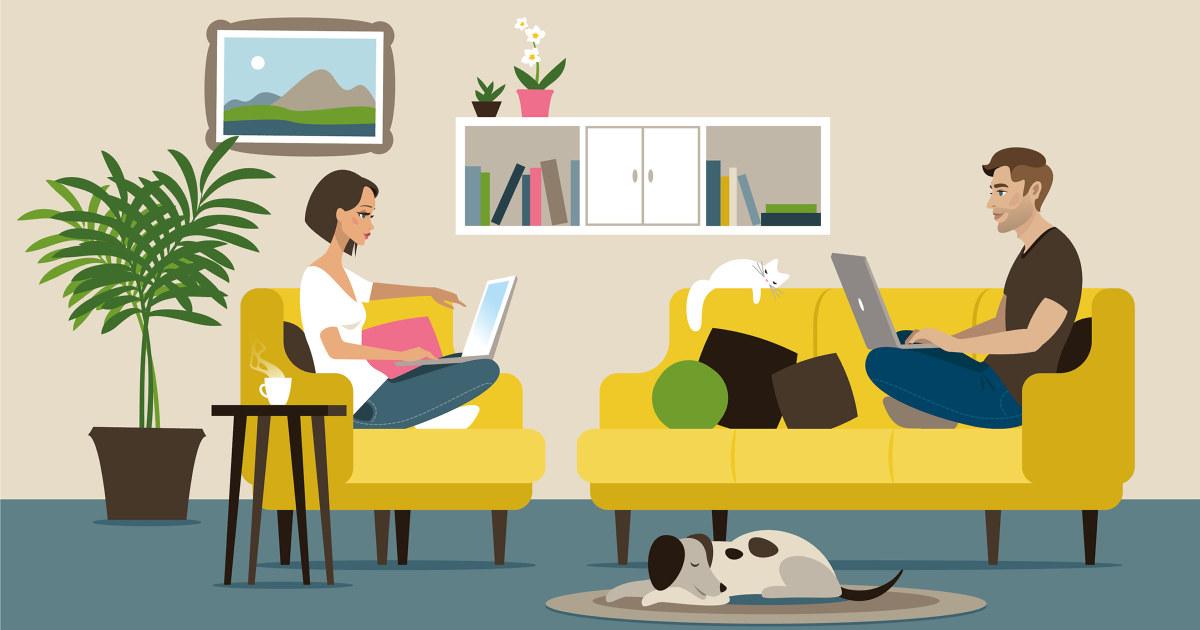 Illustrasjon av to som jobber hjemme.