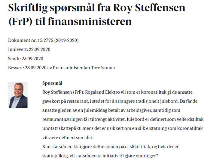 Skriftlig spørsmål fra Roy Steffensen (Frp)