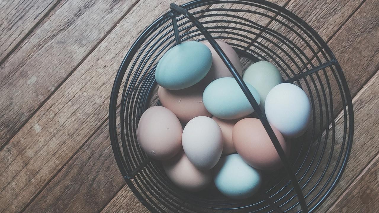 Flerfargede egg i en kurv.