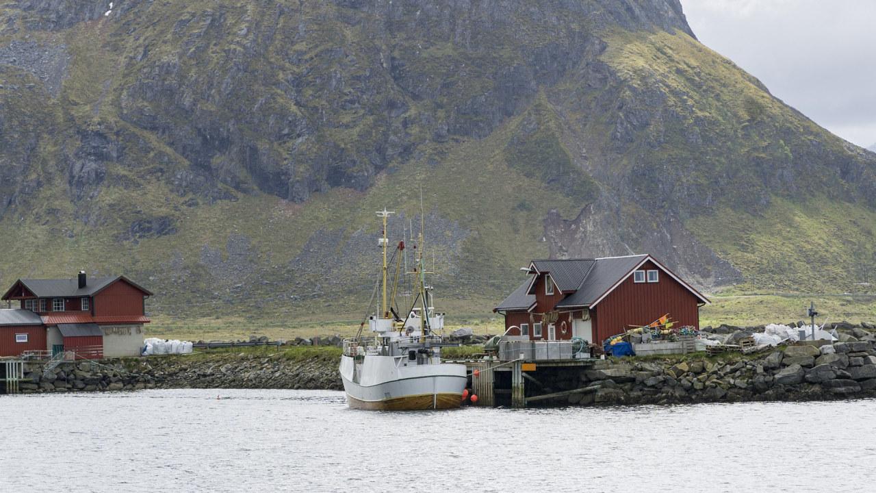 Bilde av en fiskebåt ved kai i Lofoten.