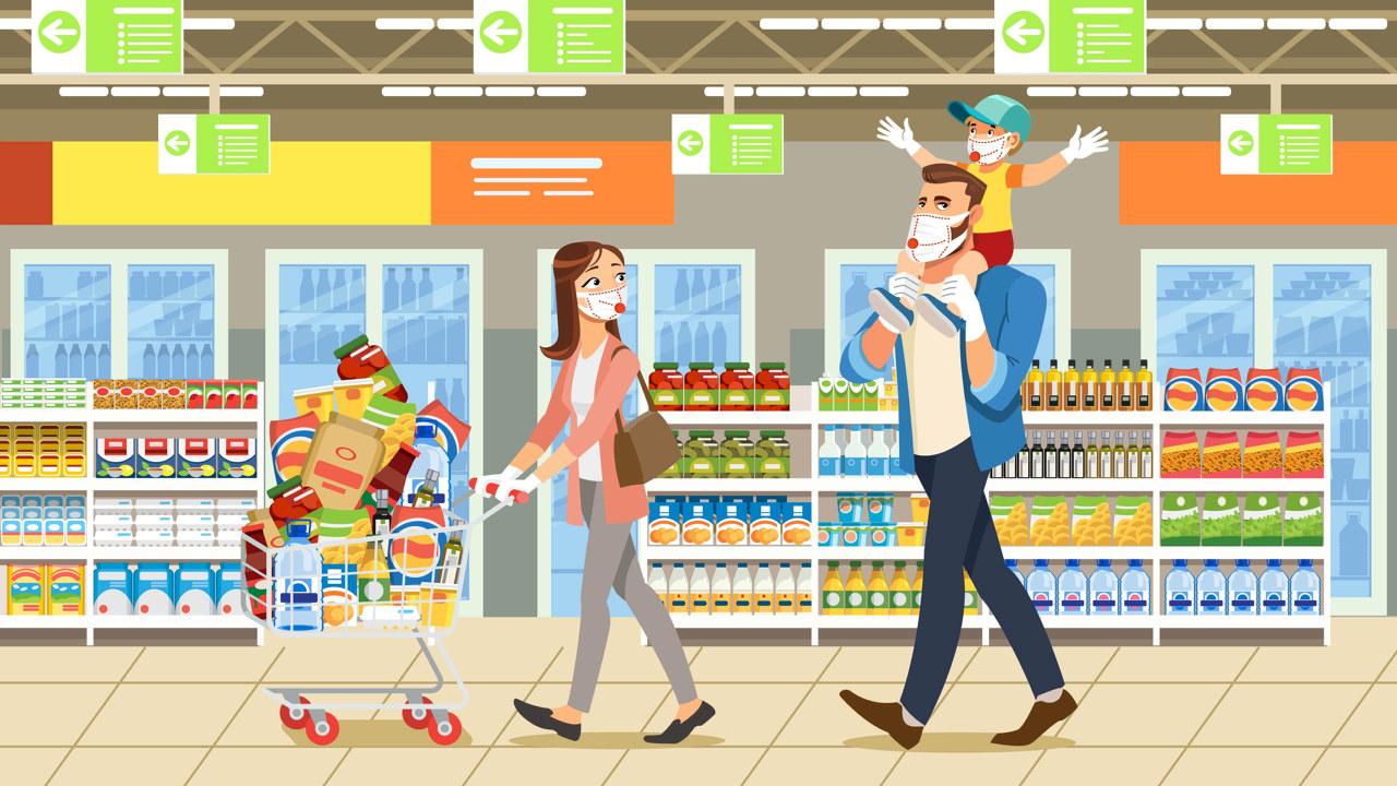 tegning av familie på handletur