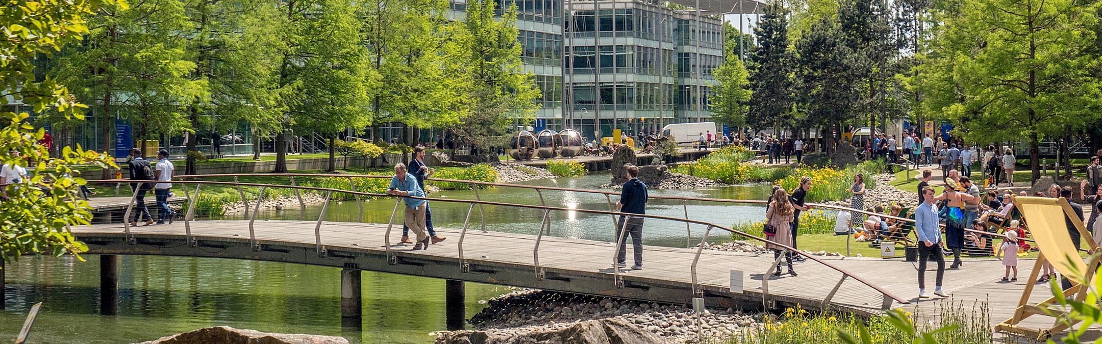 Grønn bypark med mennesker i Chiswick, London