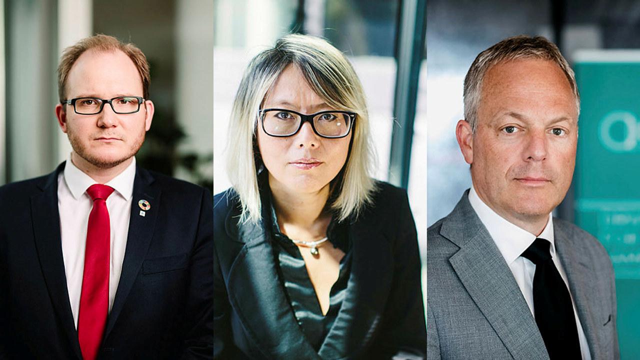 Daniel Bjarmann-Simonsen, regiondirektør i NHO Nordland, Målfrid Baik, regiondirektør i NHO Arktis, og Øystein E. Søreide, administrerende direktør i Abelia.
