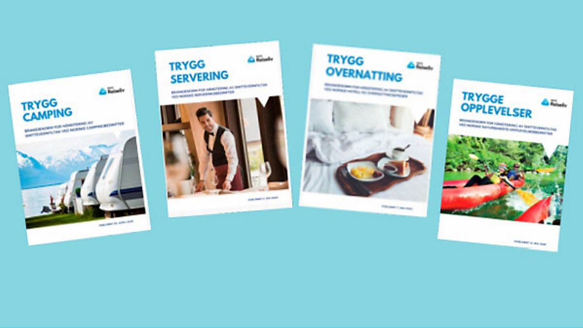 Bilde av forsidene på NHO Reiselivs bransjeveiledere for Trygg servering, Trygg overnatting, Trygg camping og Trygge opplevelser,