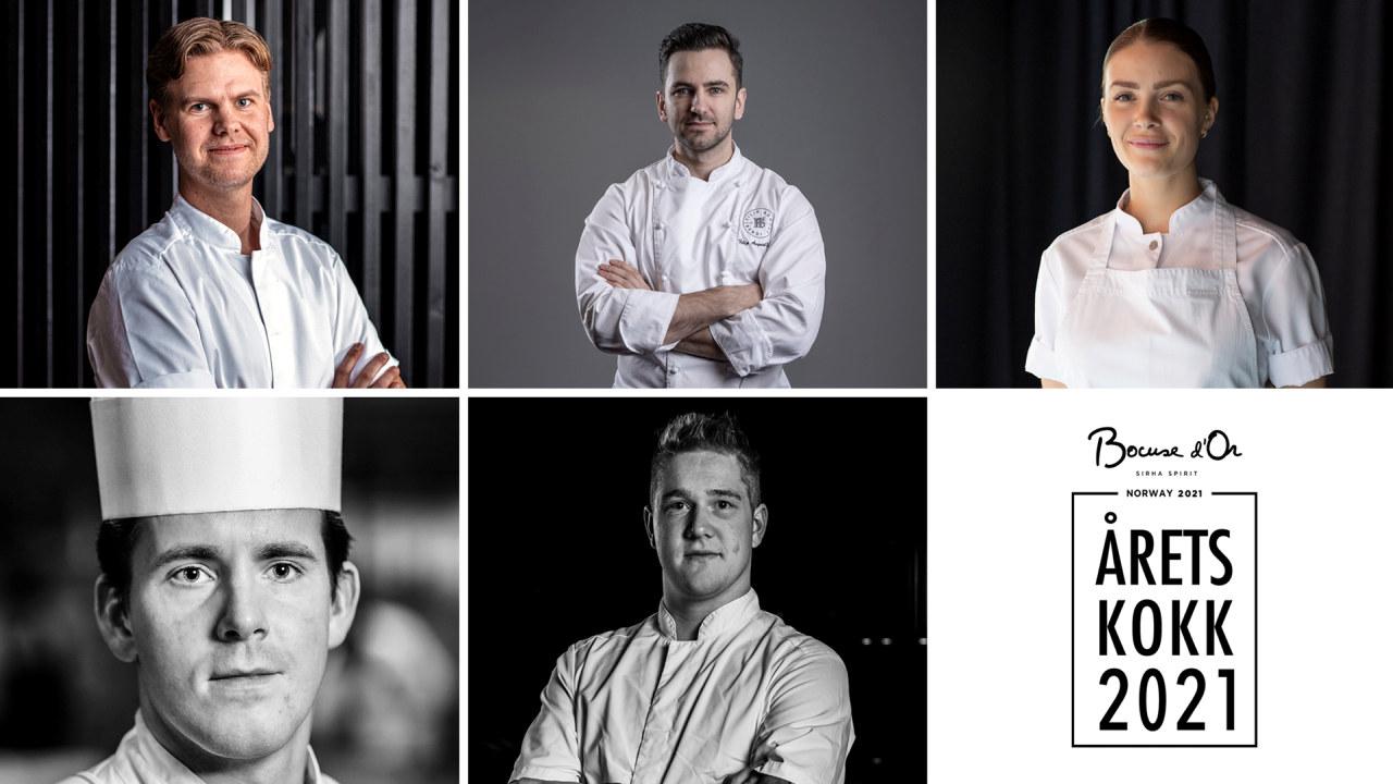 Collage med protrettbilder av alle de fem kandidatene til årets kokk 2021.