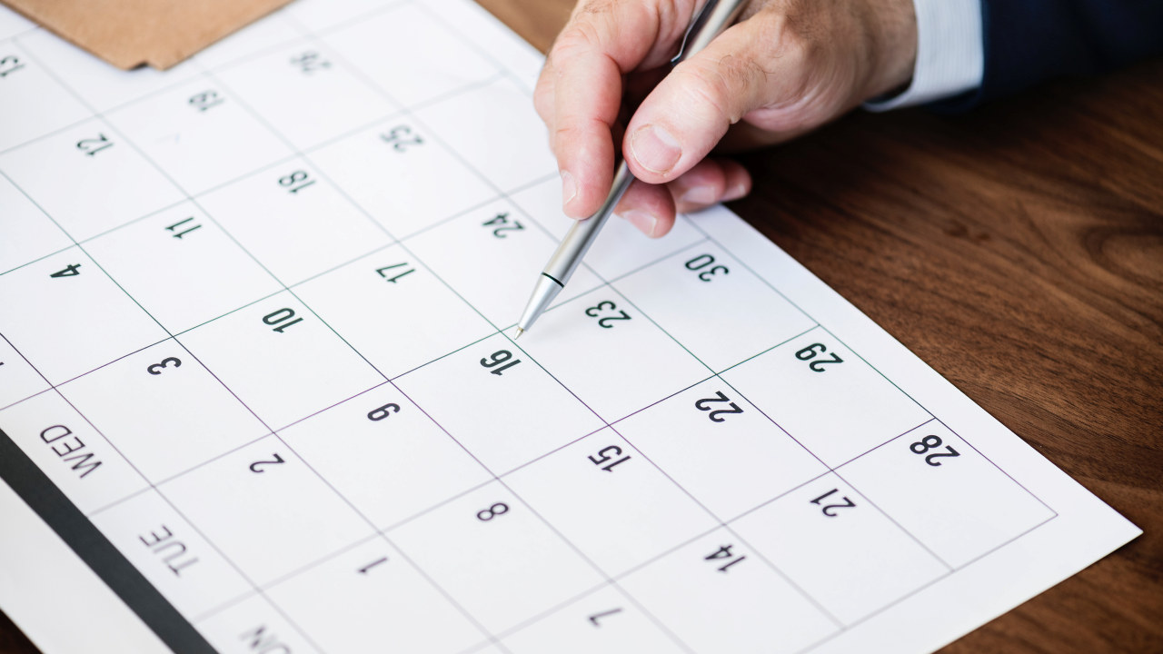 Nærbilde av kalender