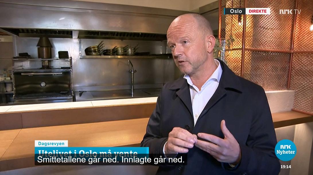 NHO-sjef Ole Erik Almlid intervjues av NRK Dagsrevyen